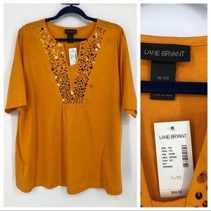 Lane Bryant Orange Sequin Embellished Top